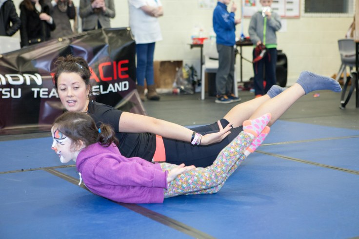 Orla and Niamh doing Pilates